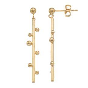 14k Gold Beaded Bar Linear Earrings