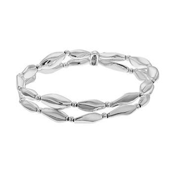 Napier Wavy Bead Double Strand Stretch Bracelet