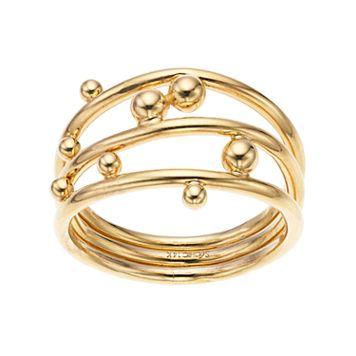 14k Gold Beaded Openwork Ring