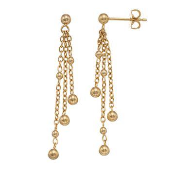 14k Gold Beaded Chain Tassel Drop Earrings