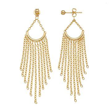 14k Gold Chain Fringe Chandelier Earrings