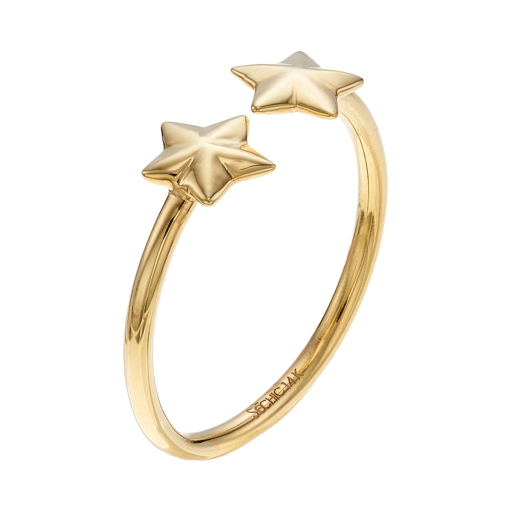 14k Gold Star Open Ring