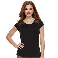 Women's Rock & Republic® Inset Mesh Tee