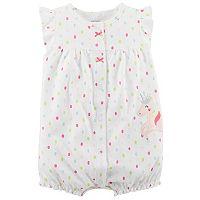 Baby Girl Carter's Polka-Dot Unicorn Applique Snap-Up Romper