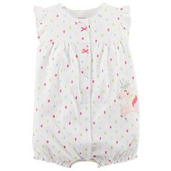 Baby Girl Carter's Polka-Dot Unicorn Applique Snap-Up Romper