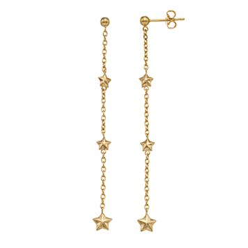 14k Gold Star Chain Linear Earrings