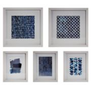 Blue & White Framed Wall Art 5-piece Set