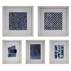 Blue & White Framed Wall Art 5-piece Set