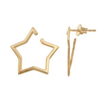 14k Gold Star Hoop Earrings