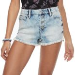 Juniors' Mudd® Frayed Button Fly Shortie Jean Shorts
