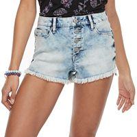 Juniors' Mudd® Frayed Button Fly Shortie Jean Shorts