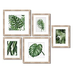 Green Palm Leaf Framed Wall Art 5-piece Set