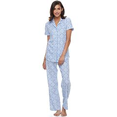 Women's Croft & Barrow® Pajamas: Notch Collar Shirt & Pant Set