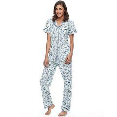 Women's Croft & Barrow® Pajamas: Notch Collar Shirt & Pant Set