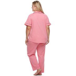 Plus Size Croft & Barrow® Pajamas: Notch Collar Shirt & Pants Set