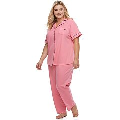 Plus Size Croft & Barrow® Pajamas: Notch Collar Shirt & Pants Set