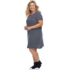 Plus Size Croft & Barrow® Pajamas: Knit Sleepshirt & Socks Set