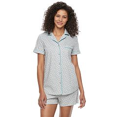 Women's Croft & Barrow® Pajamas: Notch Collar Shirt & Shorts Set