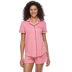 Women's Croft & Barrow® Pajamas: Notch Collar Shirt & Shorts Set
