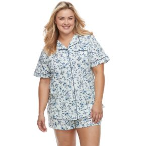 Plus Size Croft & Barrow® Pajamas: Notch Collar Shirt & Shorts Set