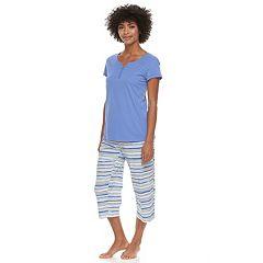 Women's Croft & Barrow® Eyelet Trim Capri Pajama Set