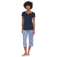 Women's Petite Croft & Barrow® Eyelet Trim Capri Pajama Set