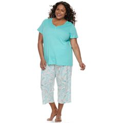 Plus Size Croft & Barrow® Eyelet Trim Capri Pajama Set