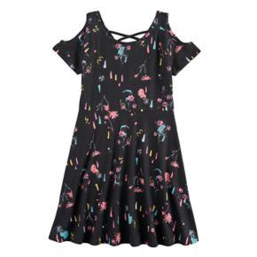 Girls 7-16 SO® Patterned Cold Shoulder Criss-Cross Dress