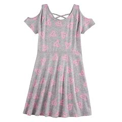 Girls 7-16 SO® Patterned Cold Shoulder Criss-Cross Dress