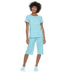 Women's Petite Croft & Barrow® Short Sleeve Novelty Pajama Set