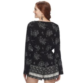 Juniors' Mudd® Floral Bell-Sleeve Romper