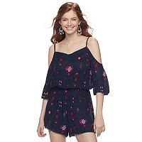 Juniors' Mudd® Print Cold-Shoulder Romper