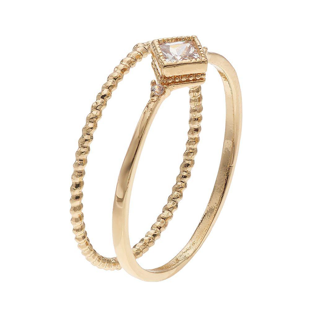 LC Lauren Conrad Cubic Zirconia Square & Twisted Ring Set