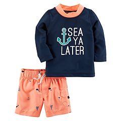 Baby Boy Carter's 2 pc 'Sea Ya Later' Anchor Rashguard & Swim Trunks Set