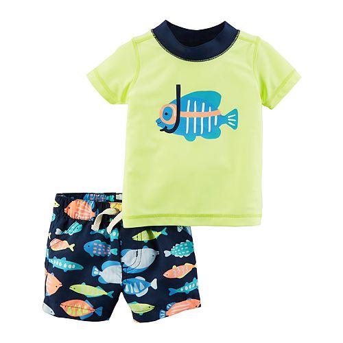 15ab8b3a39 Baby Boy Carter's 2-pc. Fish Rashguard & Swim Trunks Set
