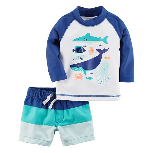 80df22a937e71 Baby Boy Carter's 2-pc. Sea Creatures Rashguard & Swim Trunks Set