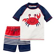 Baby Boy Carter's Crab Rash Guard & Striped Swim Trunks Set