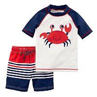 Baby Boy Carter's Crab Rash Guard & Striped Swim Trunks Set