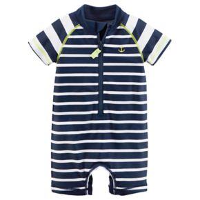 Baby Boy Carter's Striped Anchor One Piece Rashguard