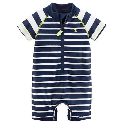 582baf6a17 Baby Boy Carter's Striped Anchor One Piece Rashguard