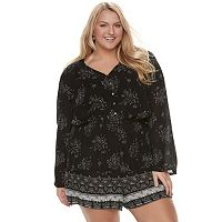 Juniors' Plus Size Mudd® Bell Sleeve Romper