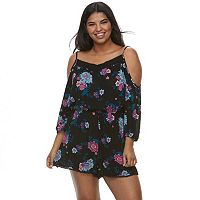 Juniors' Plus Size Mudd® Cold-Shoulder Romper