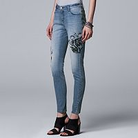 Women's Simply Vera Vera Wang Embroidered Skinny Ankle Jeans