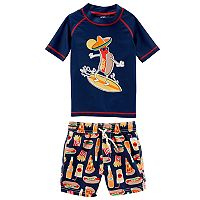 Baby Boy Carter's Hotdog Surfing Rash Guard & Swim Trunks Set