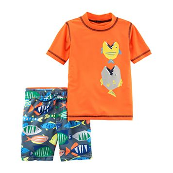 Toddler Boy Carter's Fish Rashguard Top & Swim Trunks Set