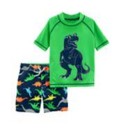 Toddler Boy Carter's 2-pc. Dinosaur Rashguard & Swim Trunks Set
