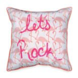 "Scribble ""Lets Rock"" Flamingo Throw Pillow"