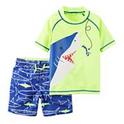 Toddler Boy Carter's Shark Rash Guard & Swim Trunks Set