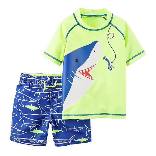 fc44b1b0767e3 Toddler Boy Carter's Shark Rash Guard & Swim Trunks Set