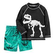 Toddler Boy Carter's Dinosaur Rash Guard & Swim Trunks Set